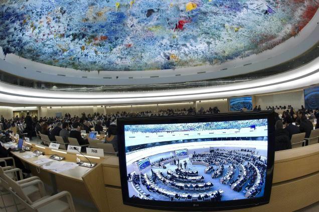 Sala unde au loc sesiunile Consiliului ONU pentru drepturile omului de la Geneva. Foto: cfnhri.org
